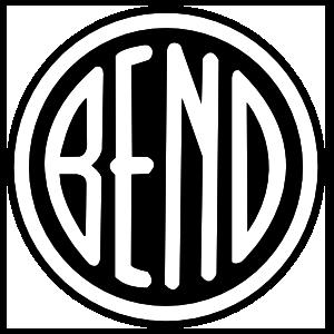 Bend Oregon White on Black Circle Sticker