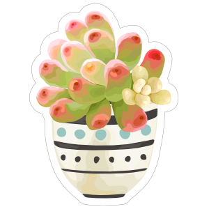 Painted Succulent in Bowl Sticker