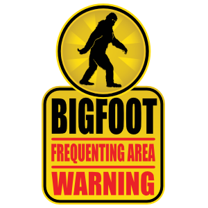 Bigfoot Frequenting Area Sign Sticker