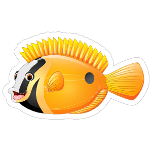 Black and Yellow Fish Sticker