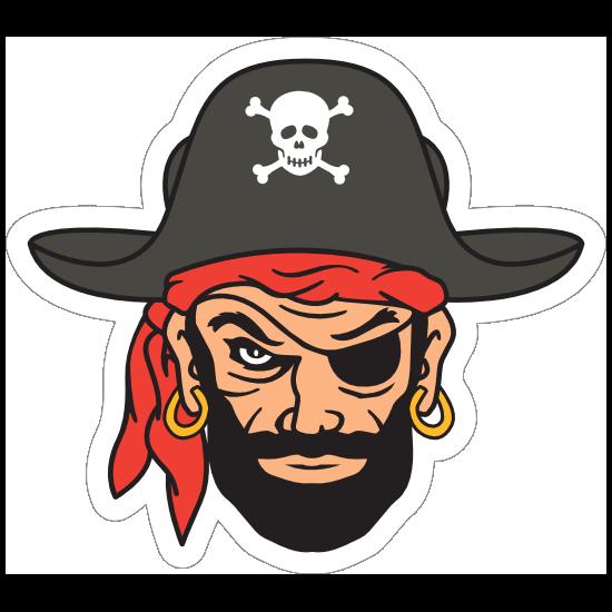 Blackbeard Pirate Mascot Sticker
