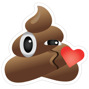 Blowing a Kiss Poop Emoji Sticker