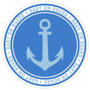 Blue Anchor Baby on Board Sticker