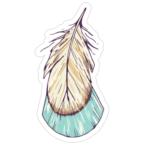 Blue and Tan Tail Feather Boho Sticker