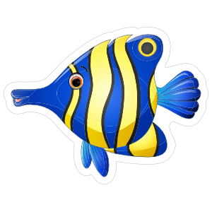 Blue and Yellow Striped Fish Sticker