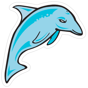 Blue Dolphin Mascot Sticker