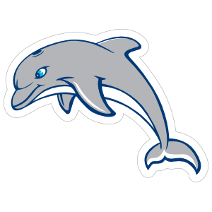 Blue Eyed Dolphin Mascot Sticker