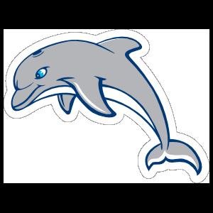 Blue Eyed Dolphin Mascot Sticker