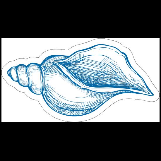 Blue Hand Drawn Drill Shell Sticker