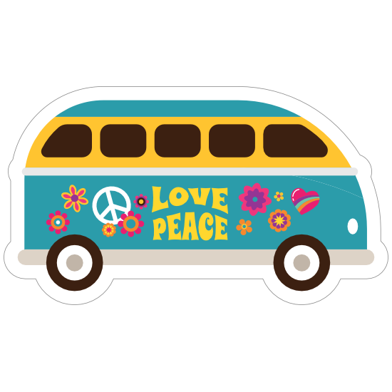 Blue Love and Peace Hippie Van Sticker
