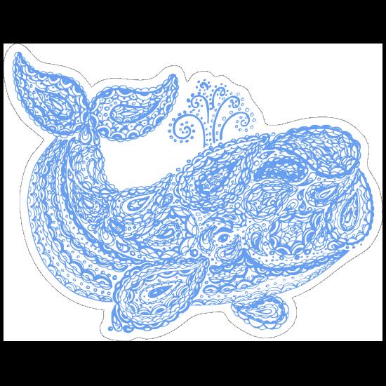 Blue Paisley Whale Boho Sticker
