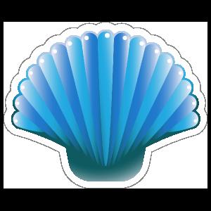 Blue Scallop Seashell Sticker