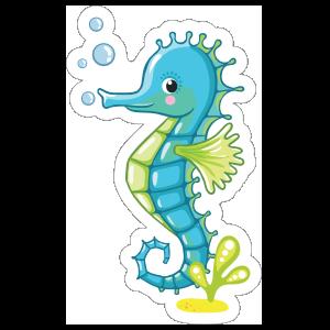 Blue Seahorse Blowing Bubbles