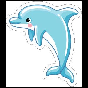 Blushing Blue Dolphin Sticker