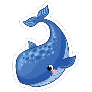 Blushing Blue Whale Sticker