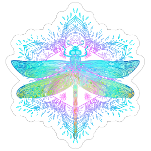 Boho Dragonfly Mandala Sticker