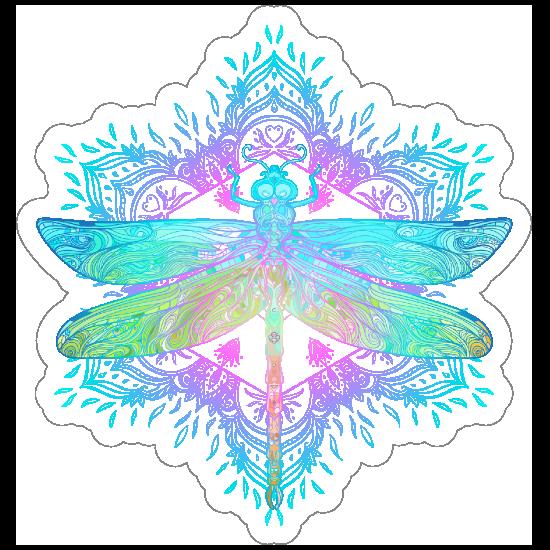 Boho Dragonfly Mandala Sticker