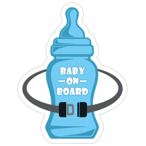 Bottle and Seat Belt Baby on Board Sticker