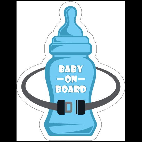 Bottle and Seat Belt Baby on Board Sticker