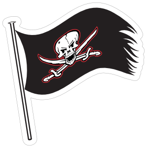 Buccaneers Flag Mascot Sticker