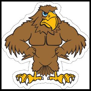 Buff Hawk Mascot Sticker