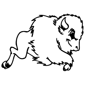 Detailed Buffalo Running Sticker