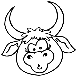 Silly Bull Head Sticker
