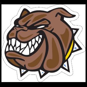 Bulldog Head with Yellow Collar Mascot Sticker
