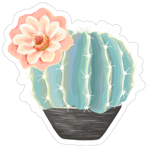 Beautiful Painted Blue Cactus with Flower Sticker