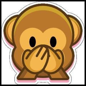 Monkey Speak No Evil Emoji Sticker