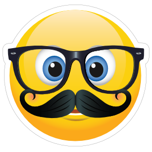 Cute Mustache and Glasses Emoji Sticker