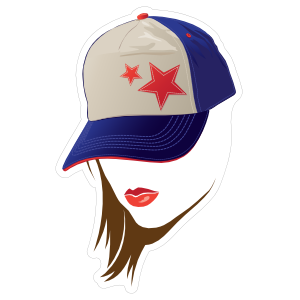 Baseball or Softball Star Hat with Lipstick Sticker