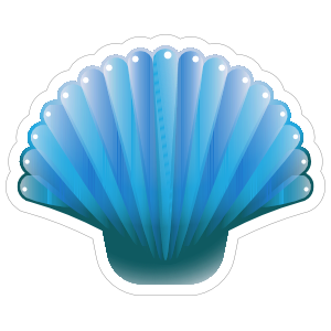 Blue Scallop Seashell Sticker