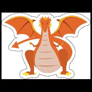 Menacing Orange Dragon Sticker