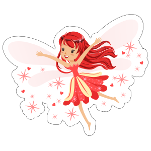 Red Fairy with Pixie Dust Sticker