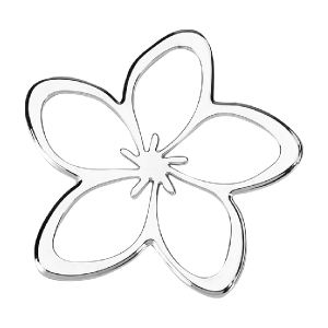 Plumeria Flower 3-D Chrome Plated Sticker