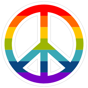 Rainbow Peace Sign Hippie Sticker
