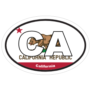 California Ca State Flag Oval Sticker