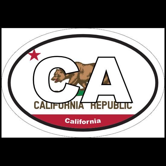 California Ca State Flag Oval Sticker