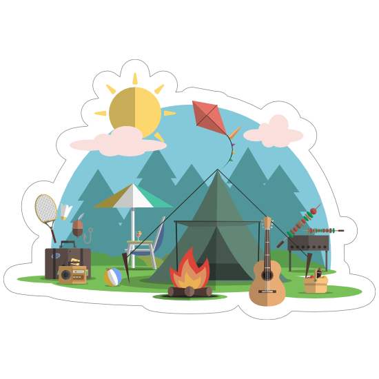 Campsite Fire Camping Sticker