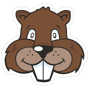Cartoon Beaver Mascot Sticker