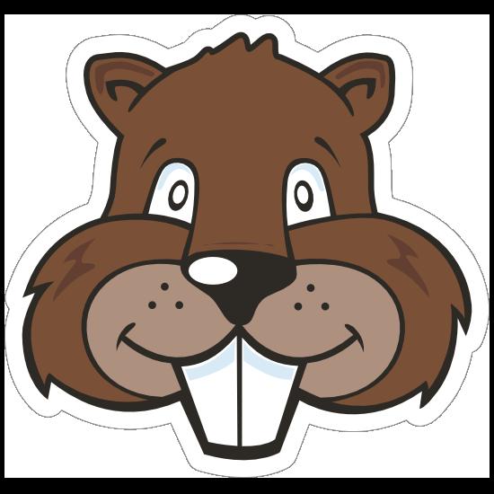 Cartoon Beaver Mascot Sticker