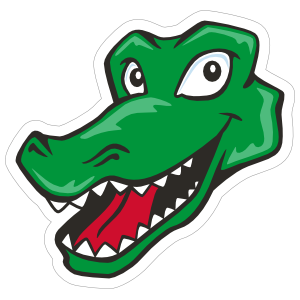 Cartoon Gator Head Mascot Sticker