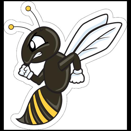 Cartoon Hornets Mascot Sticker