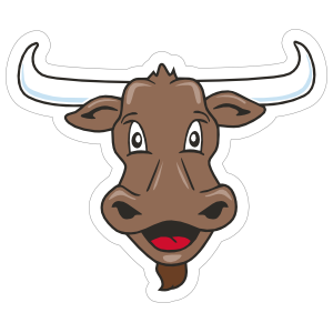 Cartoon Longhorn Mascot Sticker