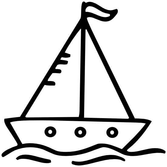 Cartoon Sail Boat Sticker