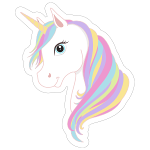 Cartoon Unicorn with Rainbow Mane Sticker