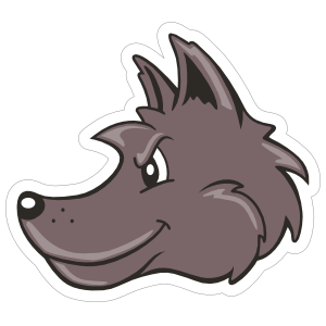 Cartoon Wolf Mascot Sticker