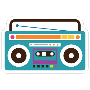 Blue Boombox Hippie Sticker