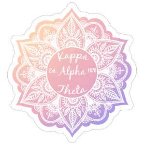 White Kappa Alpha Theta Mandala Sticker